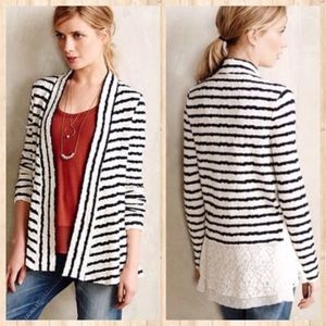 Anthropologie Postage Stamp Striped lace cardigan